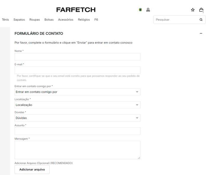 Formulário Farfetch